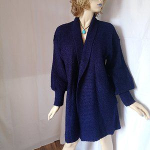 CAROLYN TAYLOR Navy Knit Open Front Cardigan L/XL